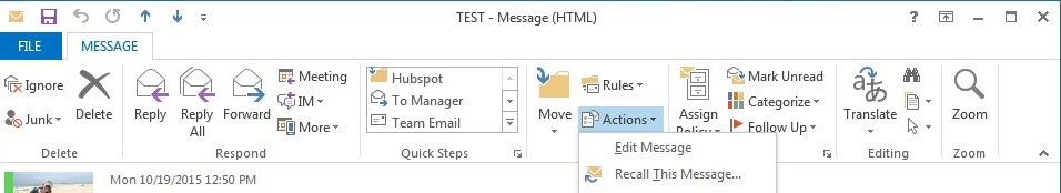 How to recall email message in MS Outlook